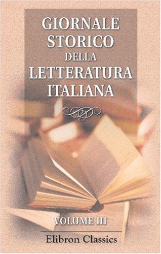 Download Giornale storico della letteratura italiana