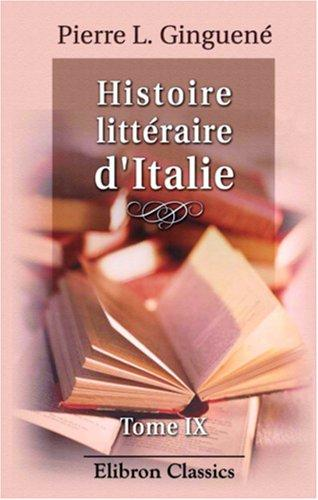 Histoire littéraire d\'Italie
