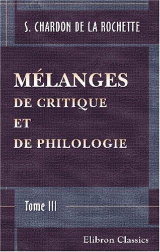 Mélanges de critique et de philologie