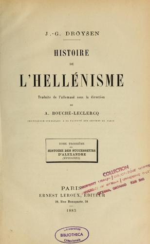 Download Histoire de l'hellénisme