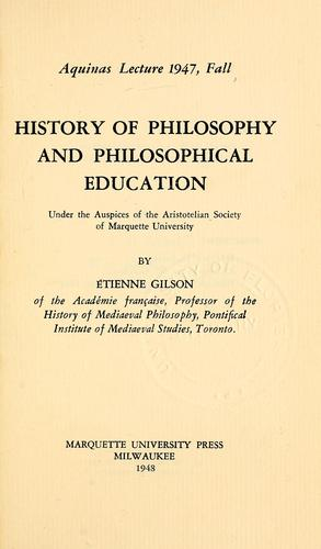 History of philosophy and philosophical education