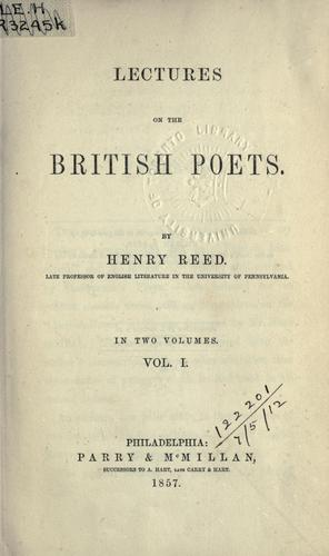 Lectures on the British poets.