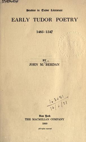 Early Tudor poetry, 1485-1547
