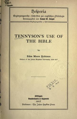 Download Tennyson's use of the Bible