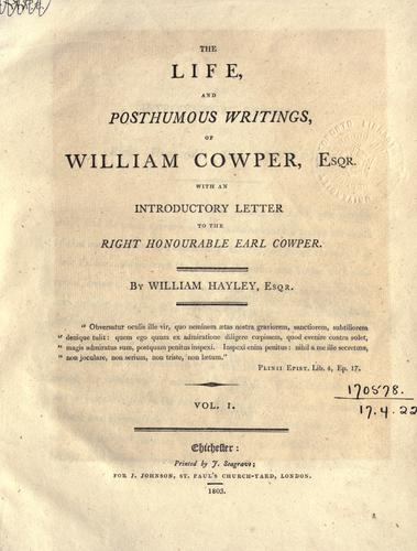 Download Life and posthumous writings of William Cowper.