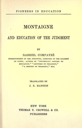 Download Montaigne and education of the judgment