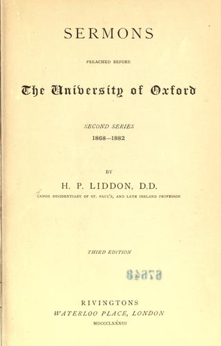 Sermons, preached before the University of Oxford