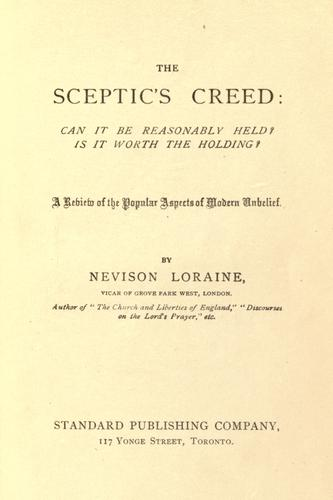 The sceptic's creed