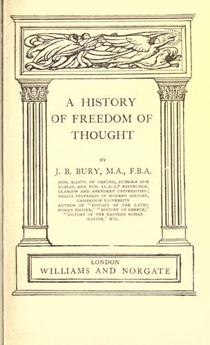 A  history of freedom of thought.