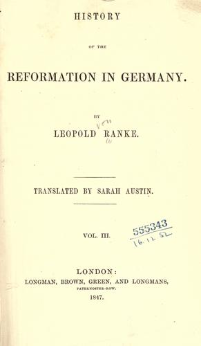 History of the Reformation in Germany.