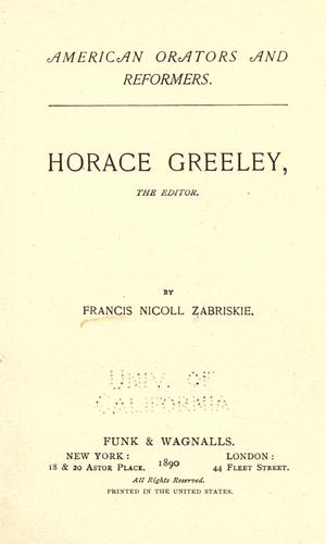 Download Horace Greeley, the editor
