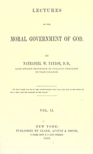 Download Lectures on the moral government of God