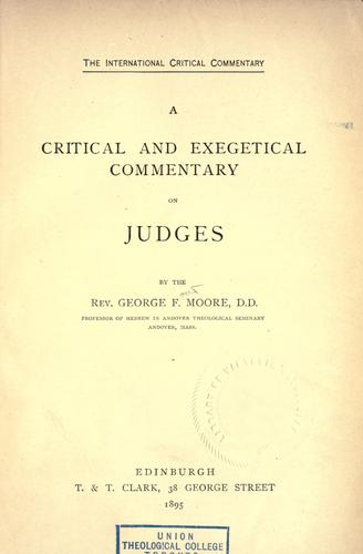 A critical and exegetical commentary on Judges.