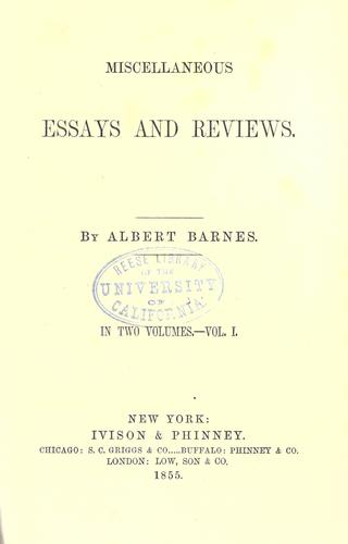 Miscellaneous essays and reviews