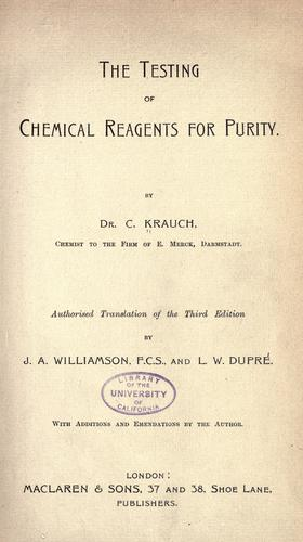 The testing of chemical reagents for purity