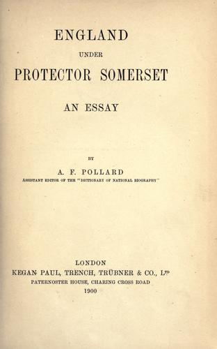 Download England under Protector Somerset