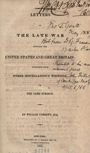 Download Letters on the late war between the United States and Great Britain