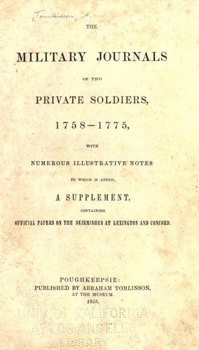 Download The military journals of two private soldiers, 1758-1775