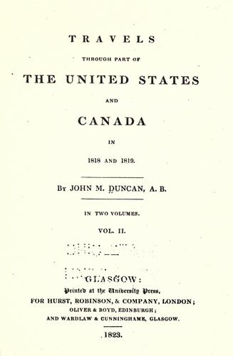 Travels through part of the United States and Canada in 1818 and 1819