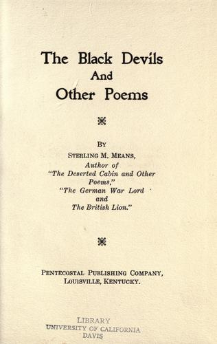 The black devils and other poems.