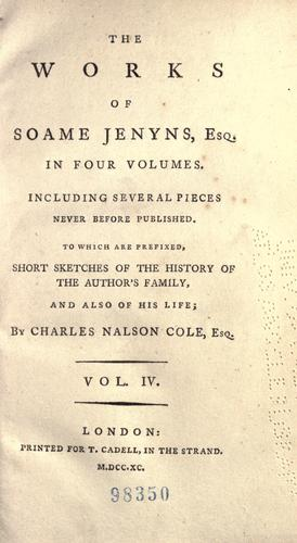 The works of Soame Jenyns,esq. …