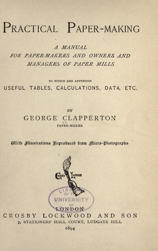 Download Practical paper-making
