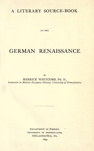 Download A literary source-book of the German Renaissance