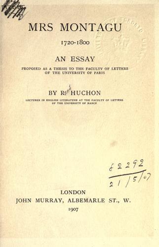 Download Mrs. Montagu, 1720-1800