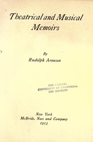 Download Theatrical and musical memoirs
