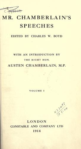 Mr. Chamberlain's speeches by Joseph Chamberlain