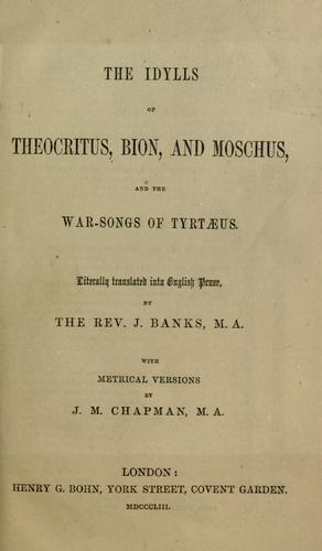 Download The idylls of Theocritus, Bion, and Moschus