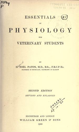 Essentials of physiology for veterinary students.