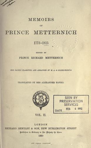 Download Memoirs of Prince Metternich …