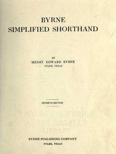 Byrne simplified shorthand