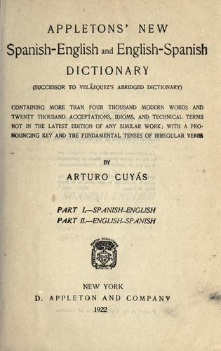 Download Appleton's new Spanish-English and English-Spanish dictionary