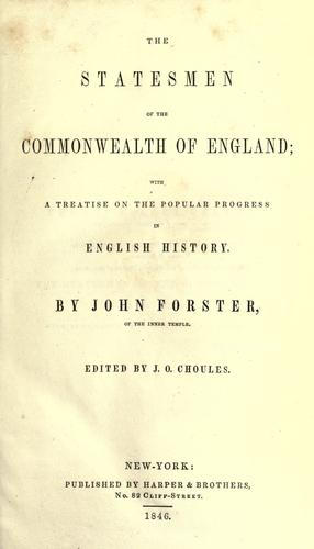 Download The statesmen of the commonwealth of England