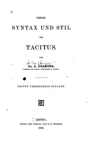 Ueber syntax und stil des Tacitus