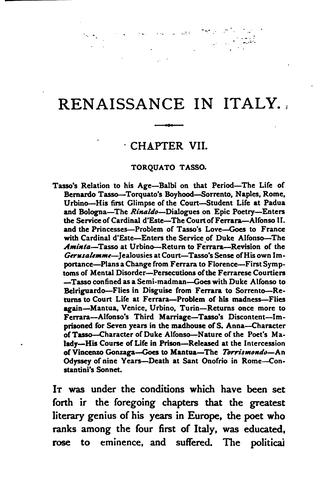 Renaissance in Italy by Symonds, John Addington