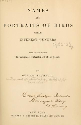 Download Names and portraits of birds which interest gunners