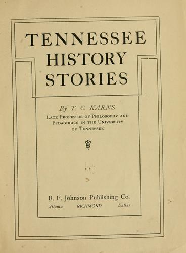 Tennessee history stories by T. C. Karns