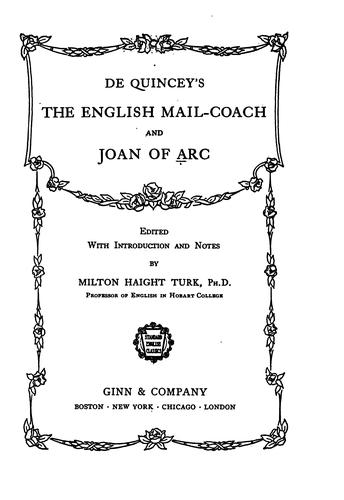De Quincey's The English mail-coach and Joan of Arc