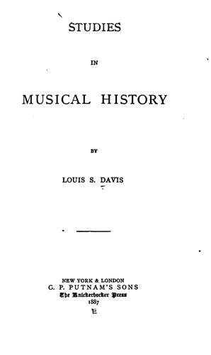 Studies in musical history