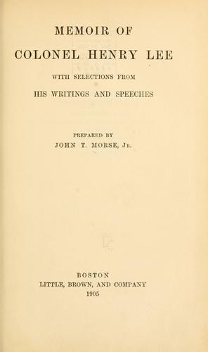 Memoir of Colonel Henry Lee