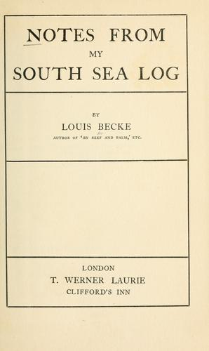 Download Notes from my South Sea log