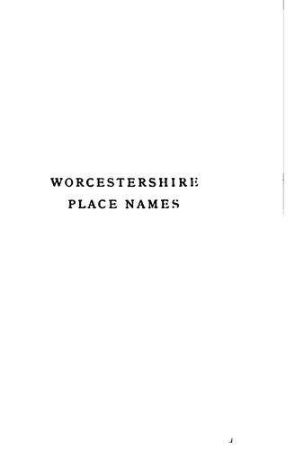 Download Worcestershire place names