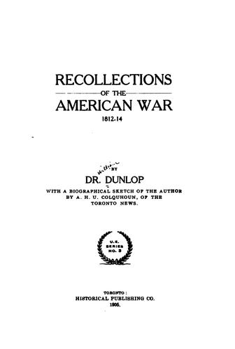 Download Recollections of the American war, 1812-14