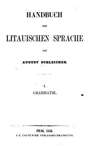 Handbuch der litauischen sprache