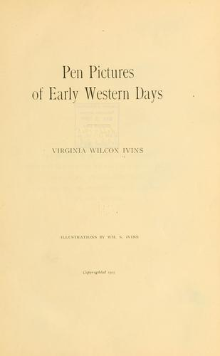 Pen pictures of early western days