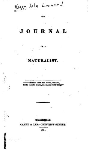 The journal of a naturalist.