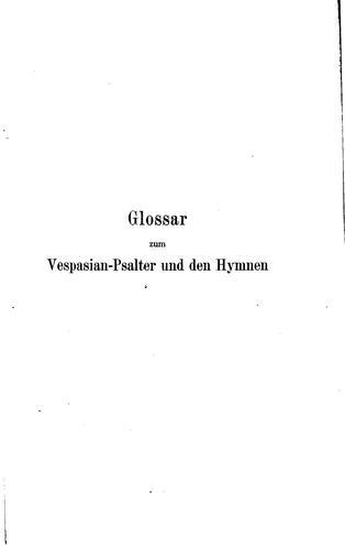 Glossar zum Vespasian-psalter und den hymnen
